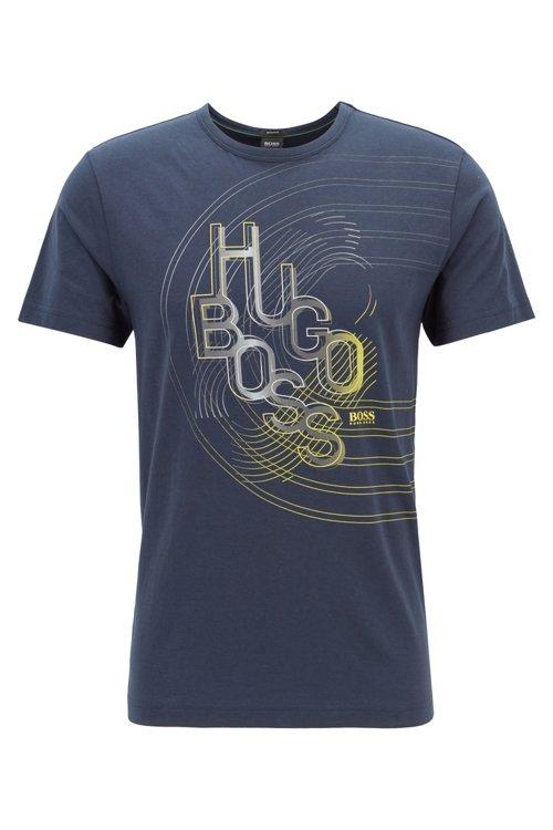 Hugo Boss - Camiseta de punto de algodón con ilustración de logo en colores - 1