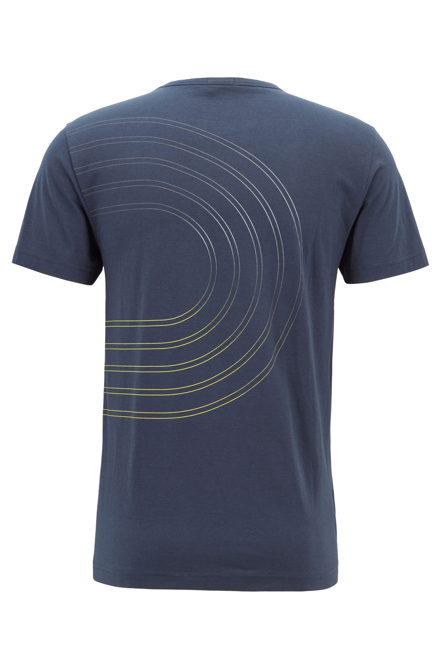 Camiseta de punto de algodón con ilustración de logo en colores, Azul oscuro