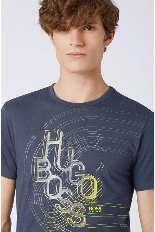 Hugo Boss - Camiseta de punto de algodón con ilustración de logo en colores - 4