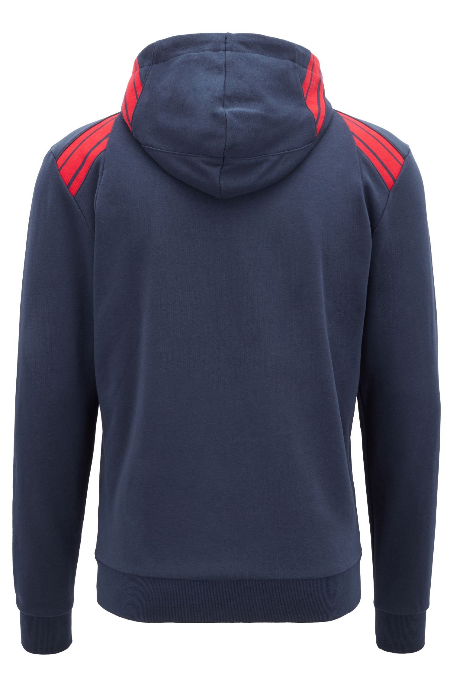 Kapuzen-Sweatshirt aus French Terry mit gestreiften Einsätzen, Dunkelblau