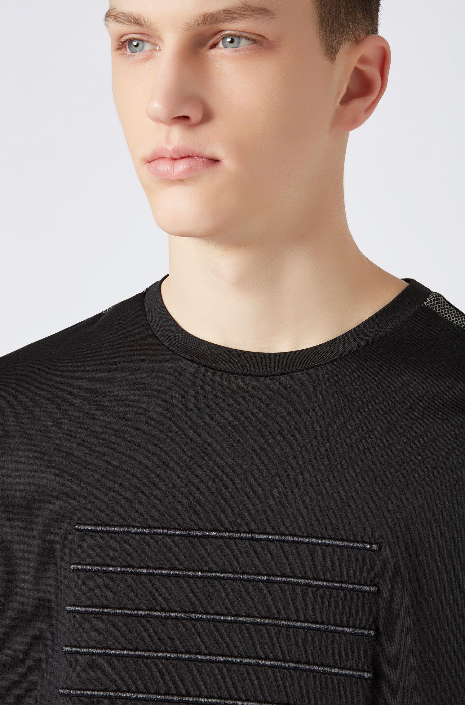 Camiseta relaxed fit con rayas bordadas, Negro