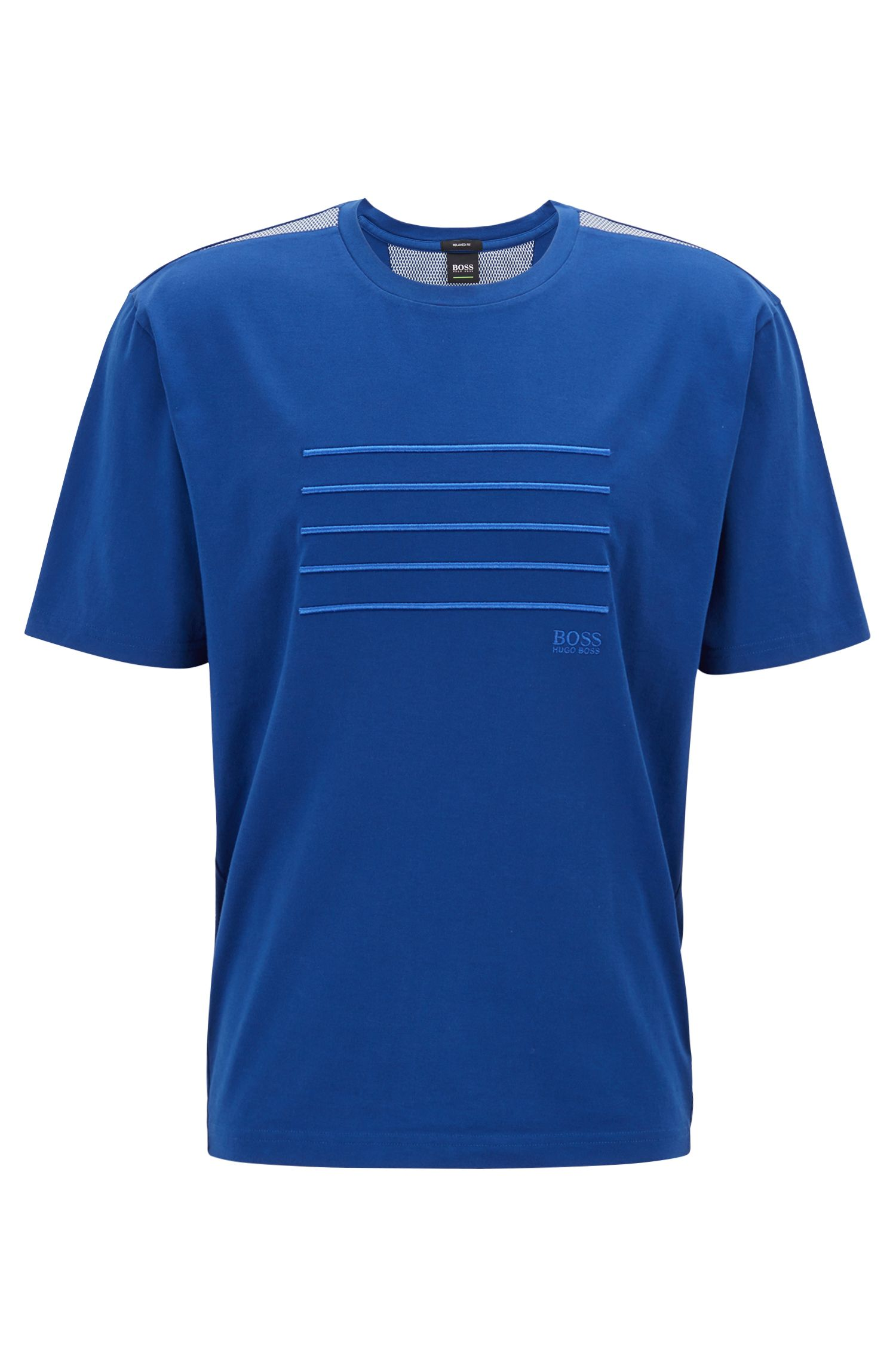 Relaxed-fit T-shirt with stripe embroidery, Blue