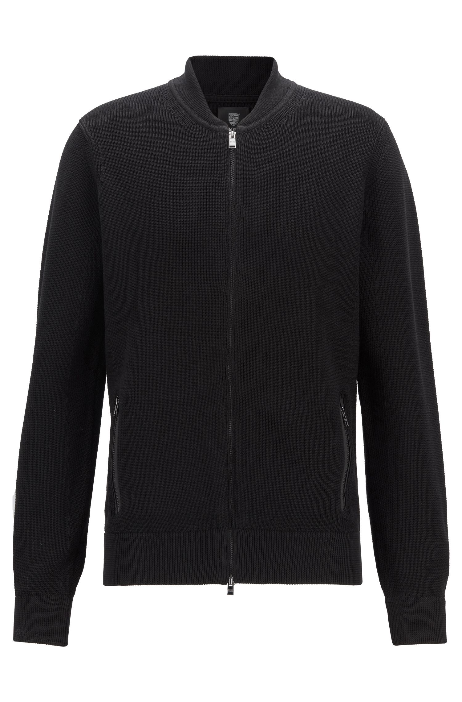 Knitted jacket in mercerised cotton, Black