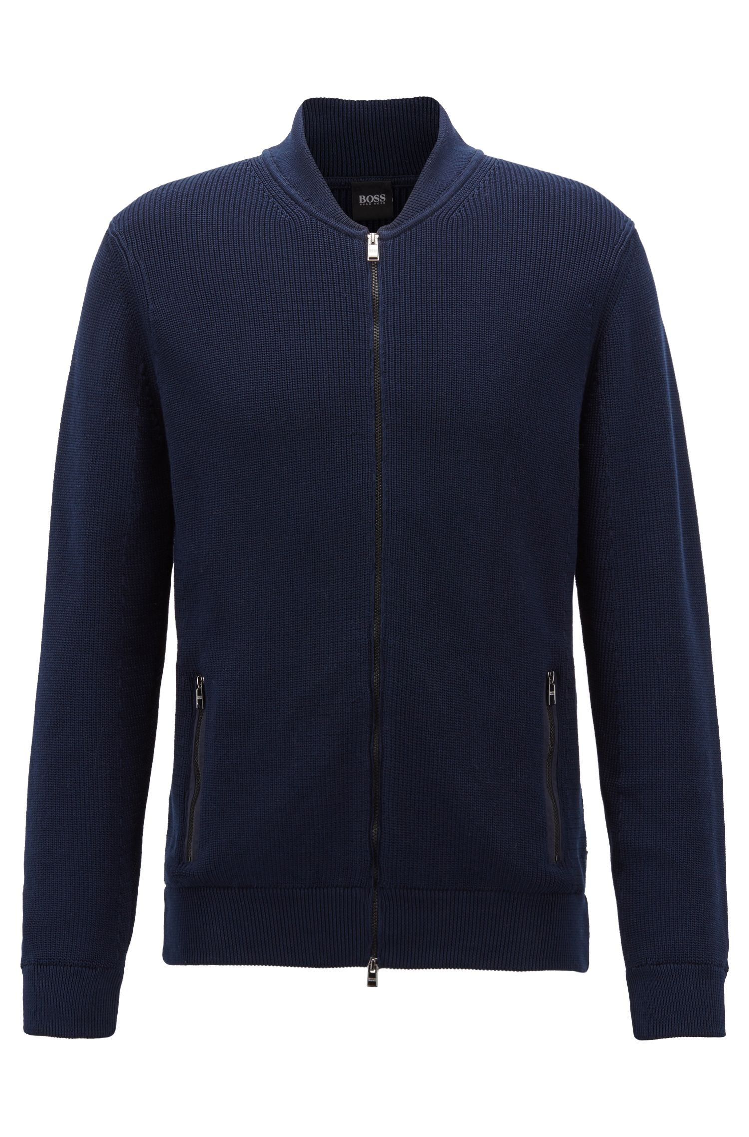 Knitted jacket in mercerised cotton, Dark Blue
