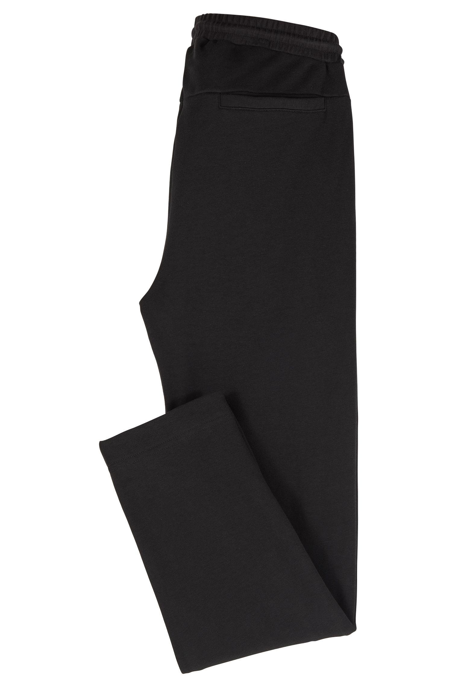 Pantalon long en molleton avec empiècements à rayures, Noir