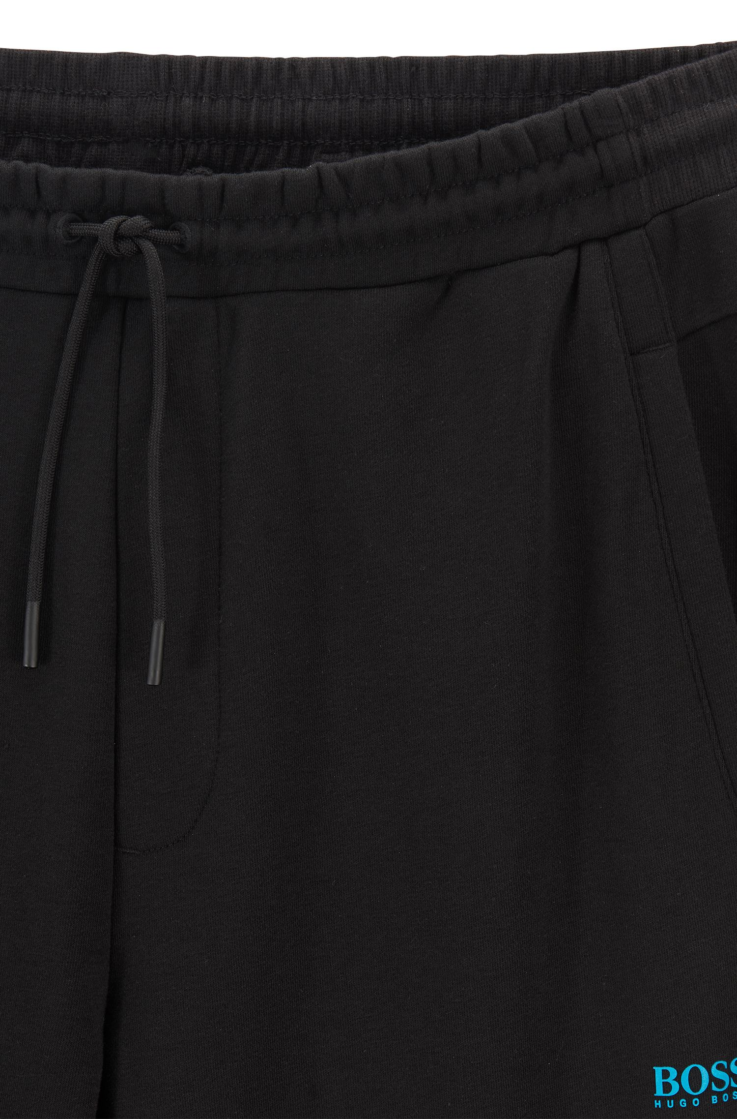 Long-length trousers in French terry with striped inserts, Black