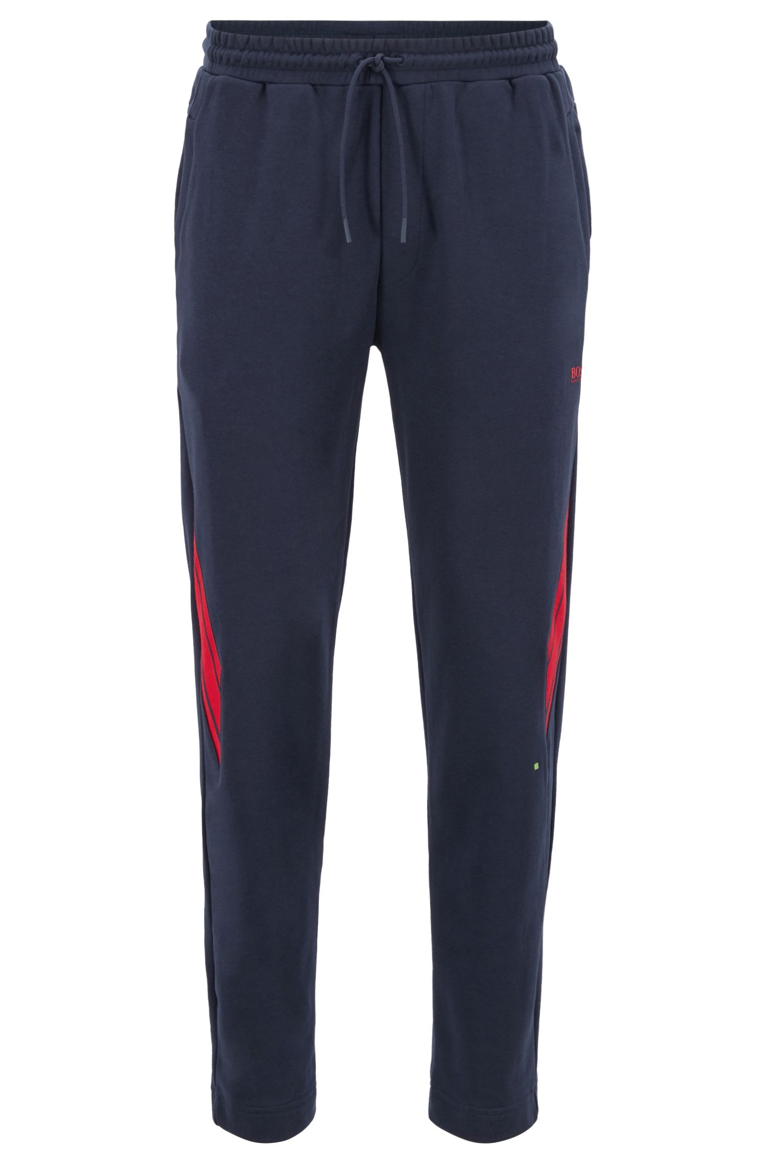 Long-length trousers in French terry with striped inserts, Dark Blue