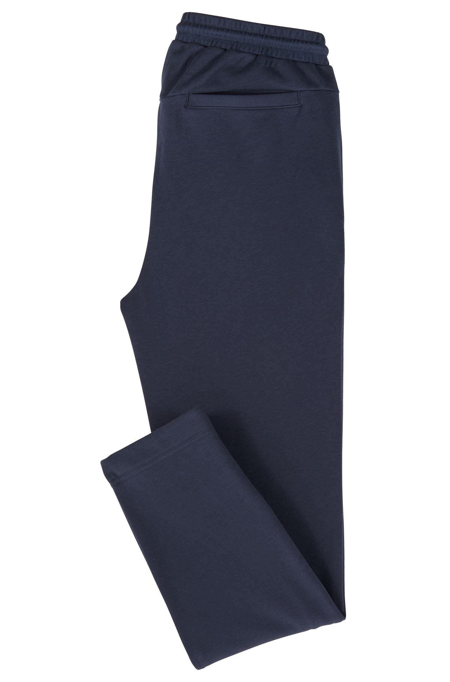 Langere broek van badstof met gestreepte inzetten, Donkerblauw