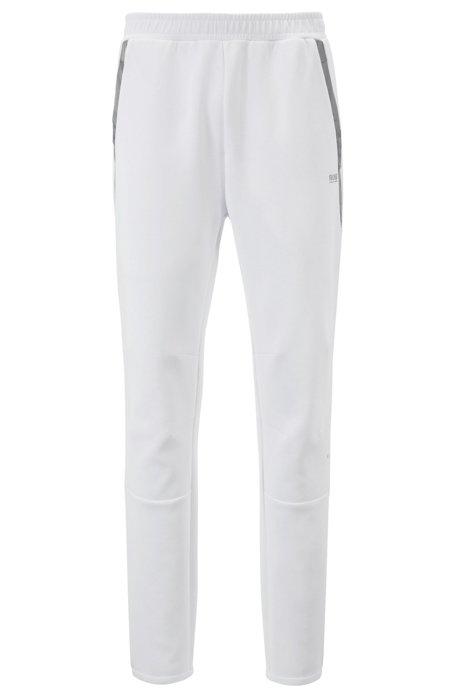 Slim-Fit Hose aus Jersey mit kontrastfarbenem Besatz, Weiß