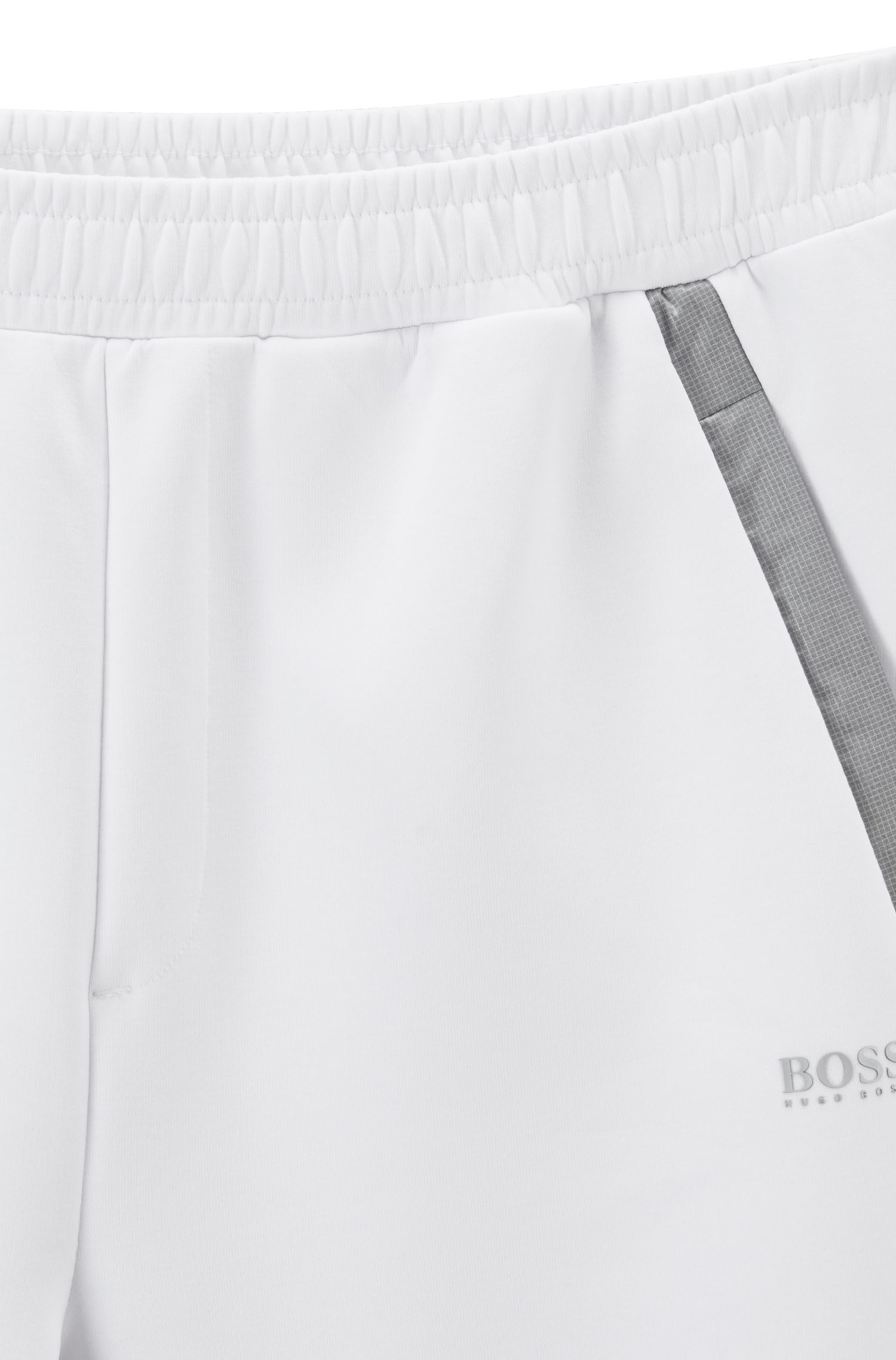 Pantalon Slim Fit en jersey avec finitions contrastantes, Blanc