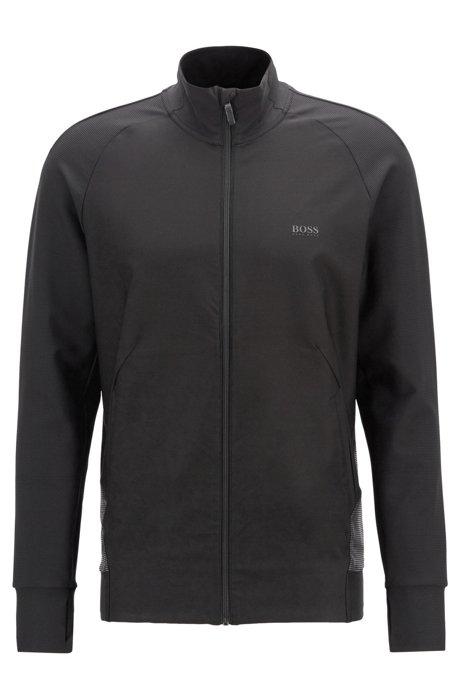 Slim-fit sweatshirt in stretch fabric with S.Café® yarn, Black