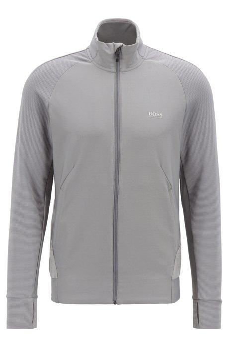 Slim-fit sweatshirt in stretch fabric with S.Café® yarn, Grey