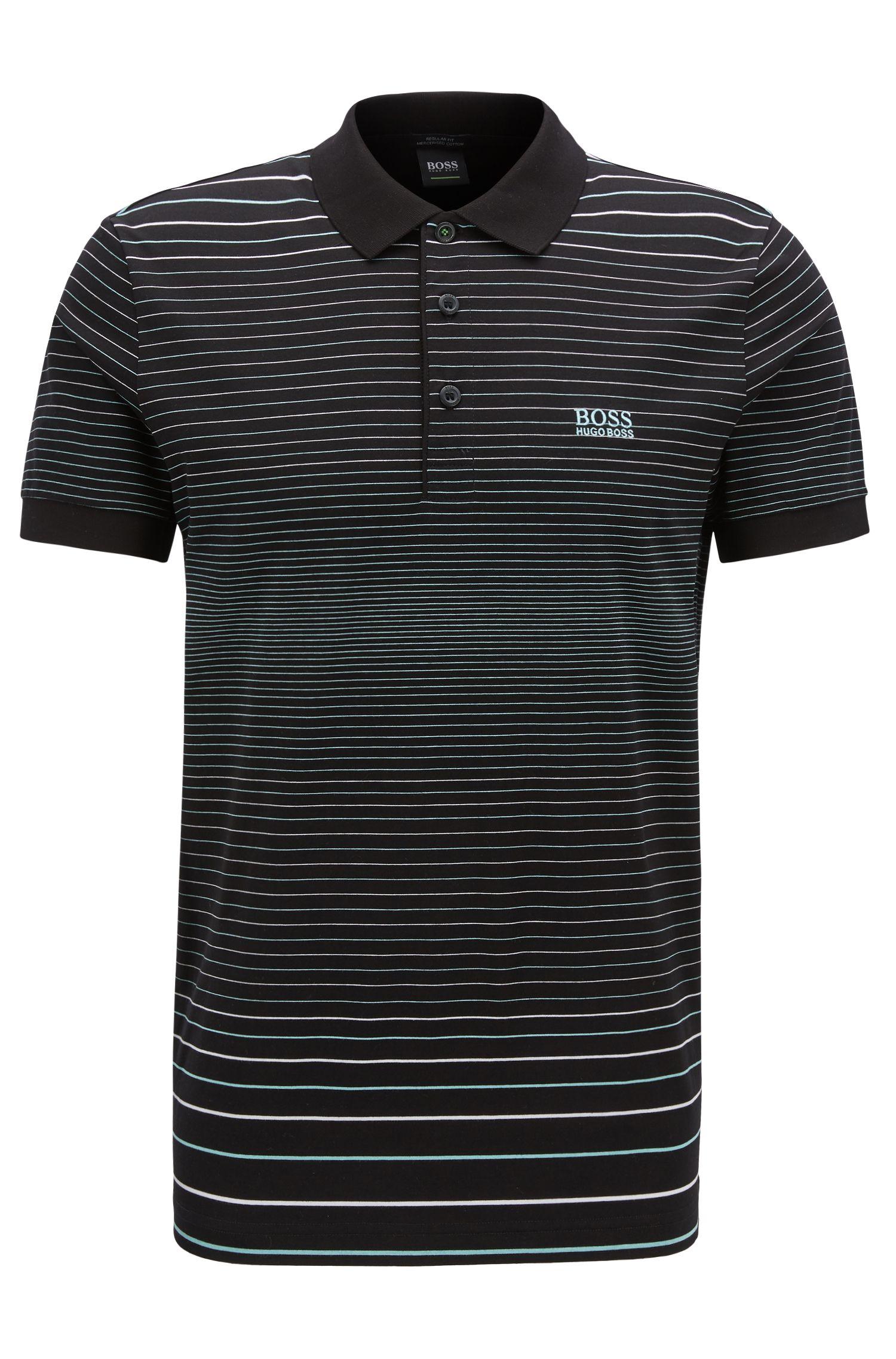 Regular-Fit Poloshirt aus merzerisierter Baumwolle, Schwarz