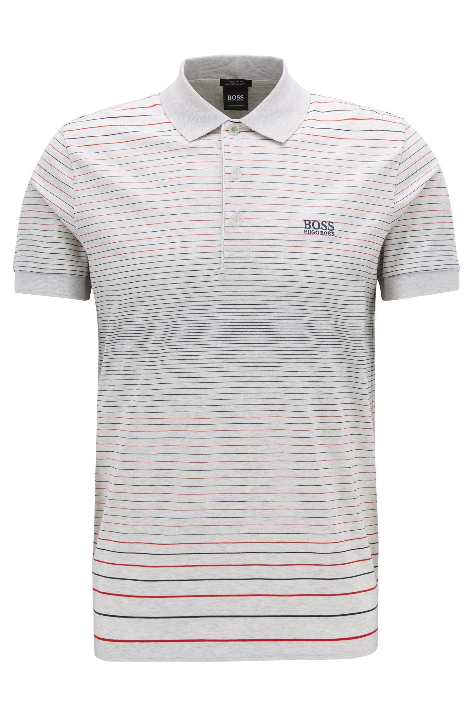 Regular-fit polo shirt in mercerised cotton, Light Grey