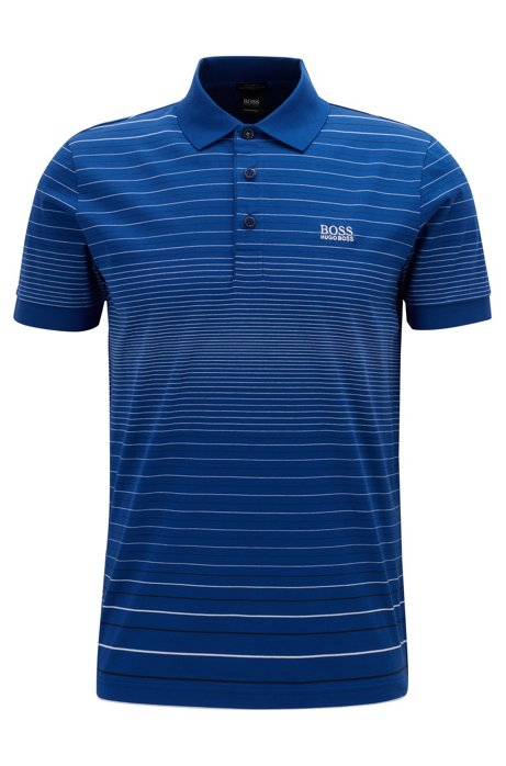 Regular-fit polo shirt in mercerised cotton, Open Blue