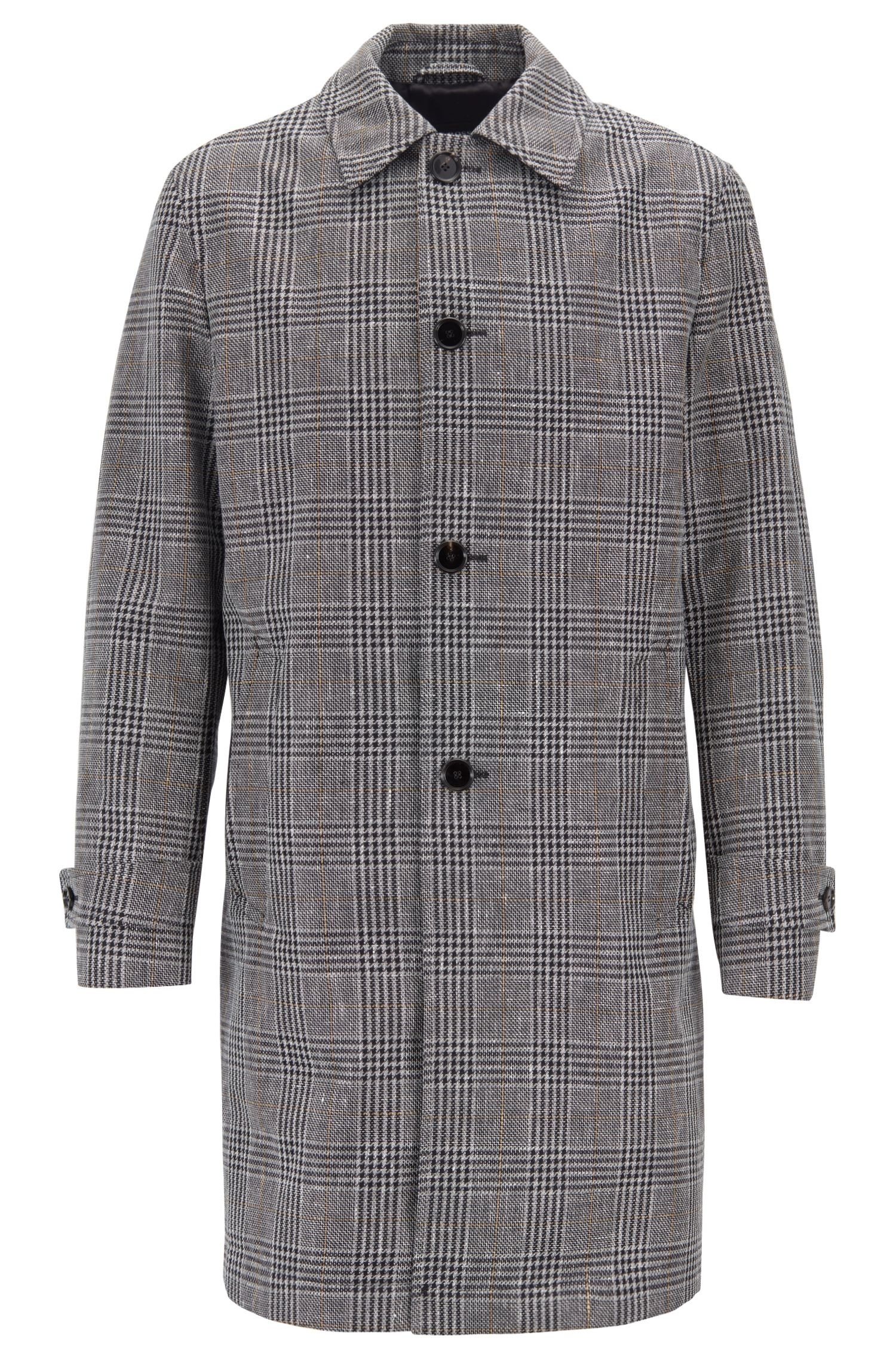 Water-repellent coat in a checked linen-cotton blend, Grey