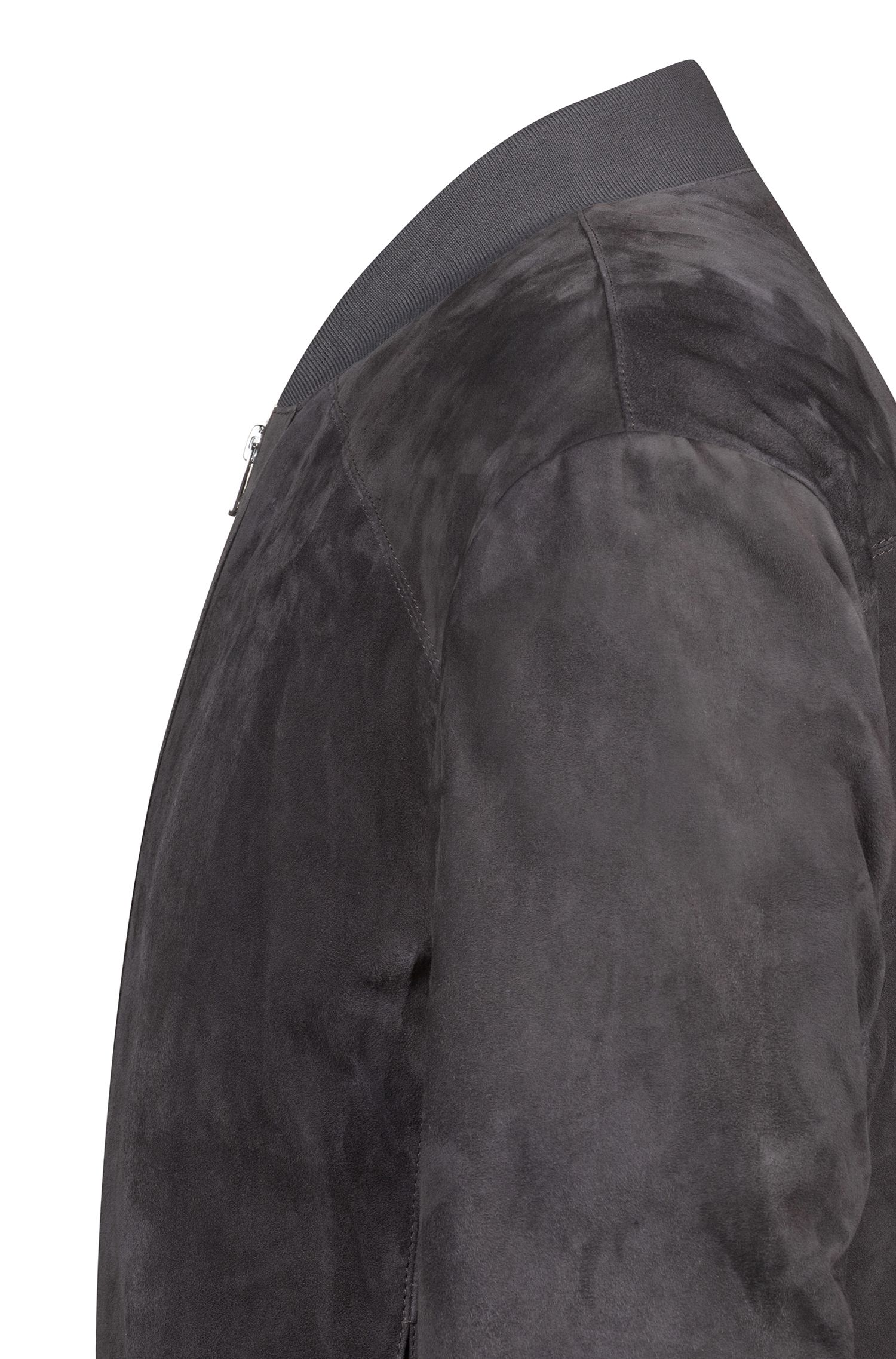 Cazadora relaxed fit en piel con tacto de velur, Gris oscuro
