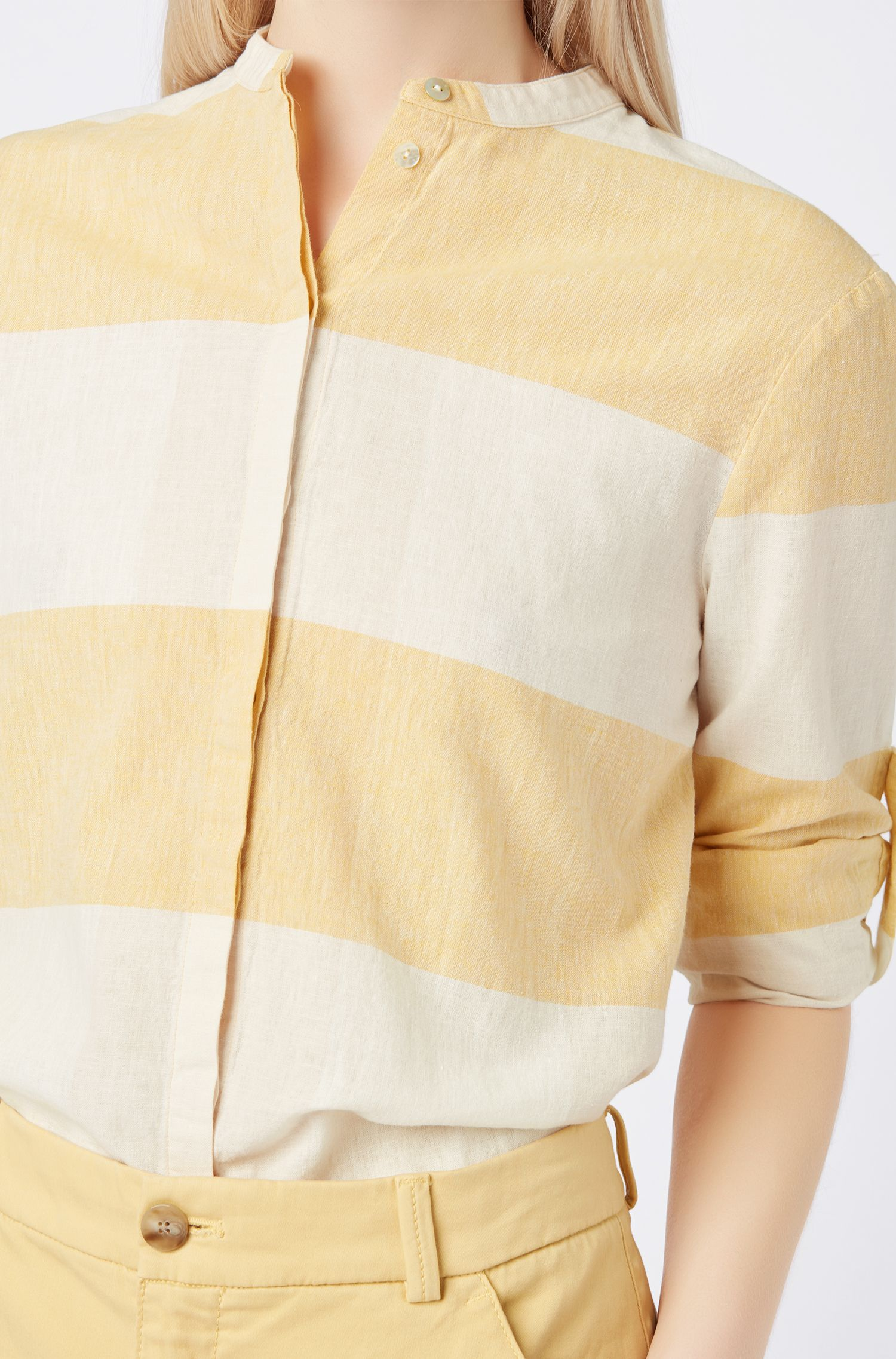 Relaxed-fit blouse in checked linen and cotton, Light Yellow
