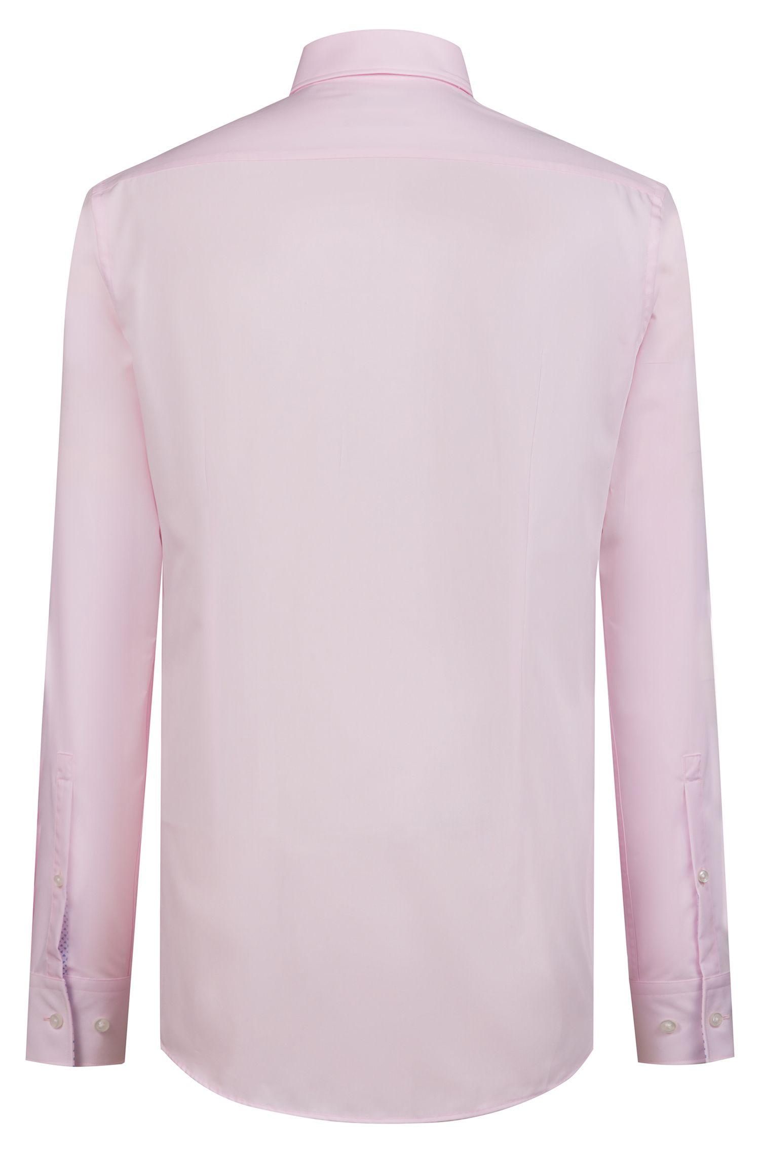 Slim-Fit Hemd aus Baumwolle mit Kontrast-Details innen, Hellrosa