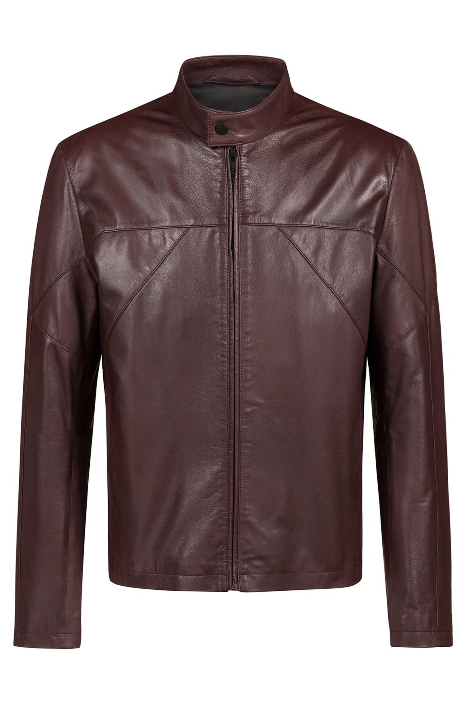 Slim-fit biker jacket in nappa leather, Brown