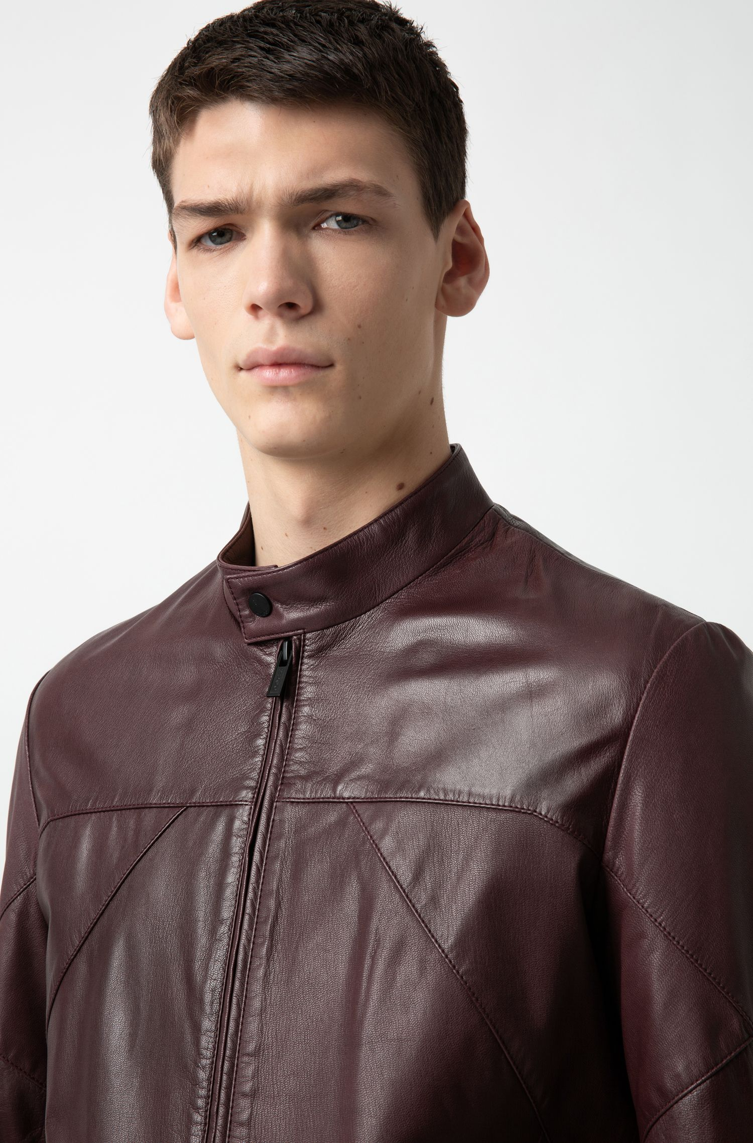 Hugo Boss - Slim-fit biker jacket in nappa leather - 3