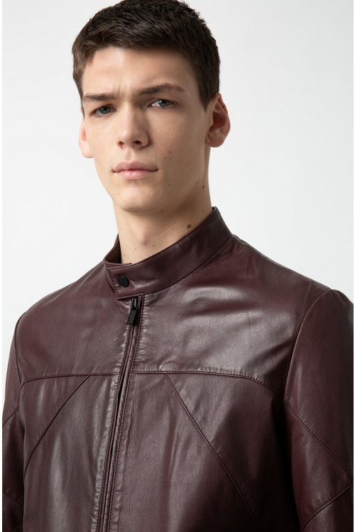Hugo Boss - Slim-fit biker jacket in nappa leather - 3