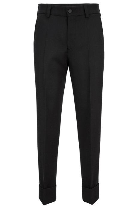 Kortere, relaxed-fit broek van scheerwol, Zwart