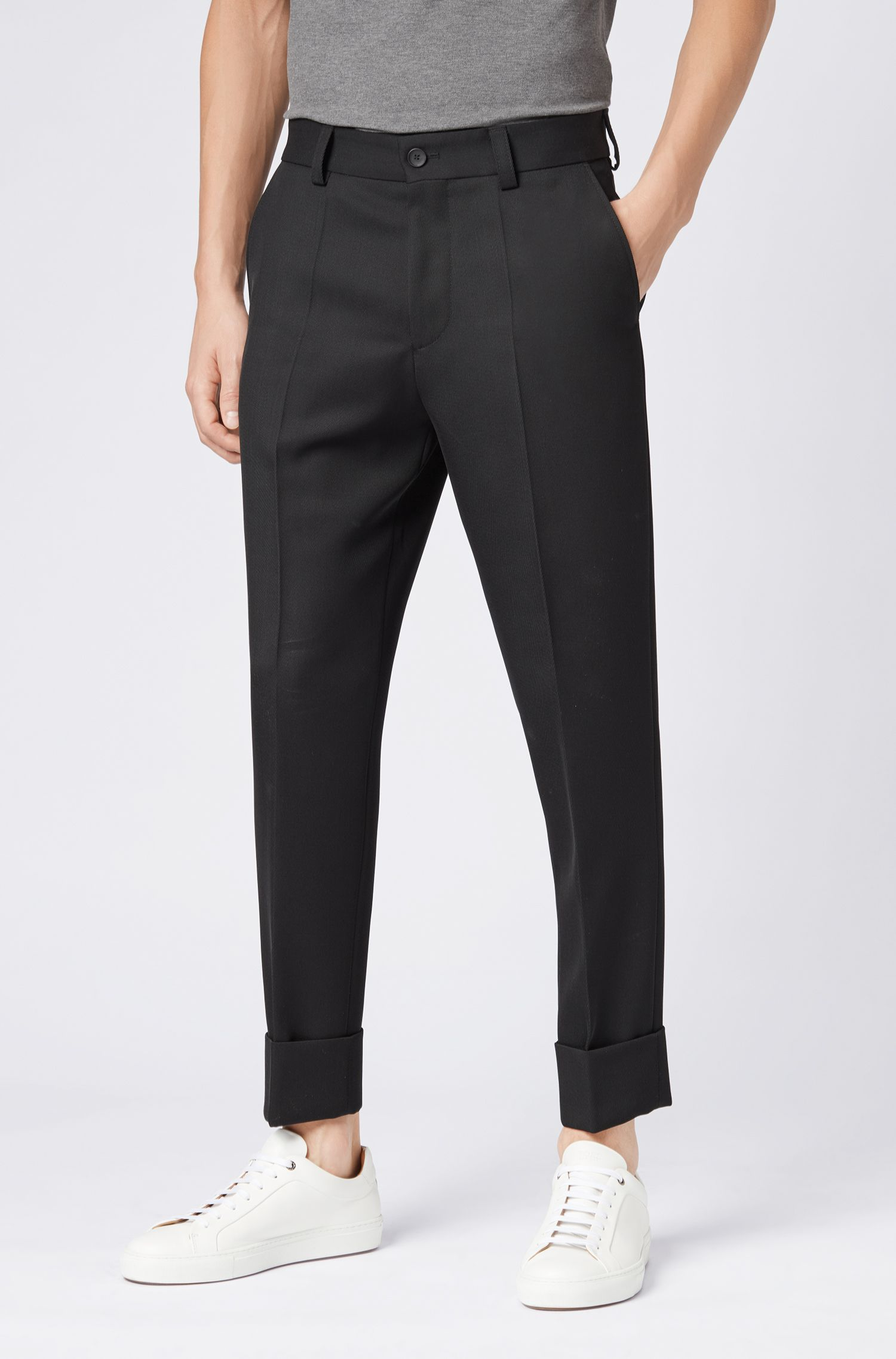 Relaxed-fit cropped trousers in virgin wool, Black