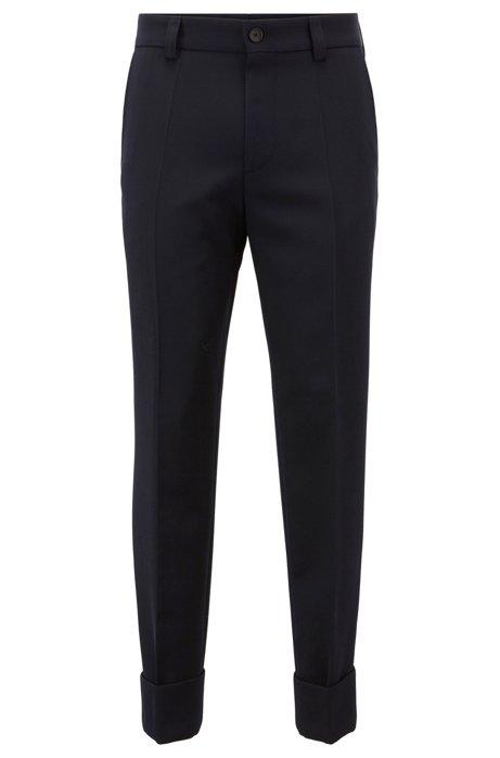 Kortere, relaxed-fit broek van scheerwol, Donkerblauw