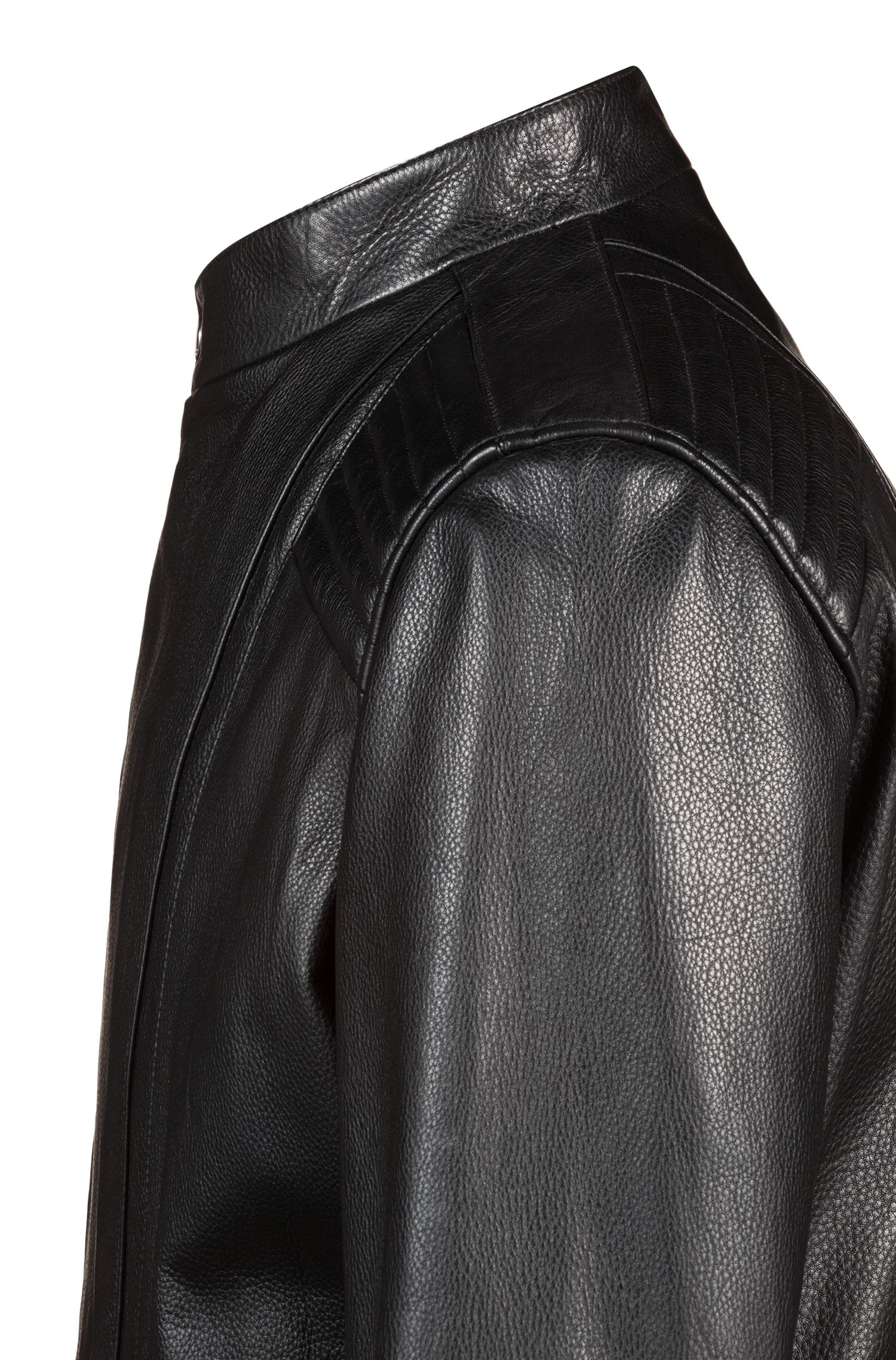Leather jacket with quilted shoulders and asymmetric zip, Black