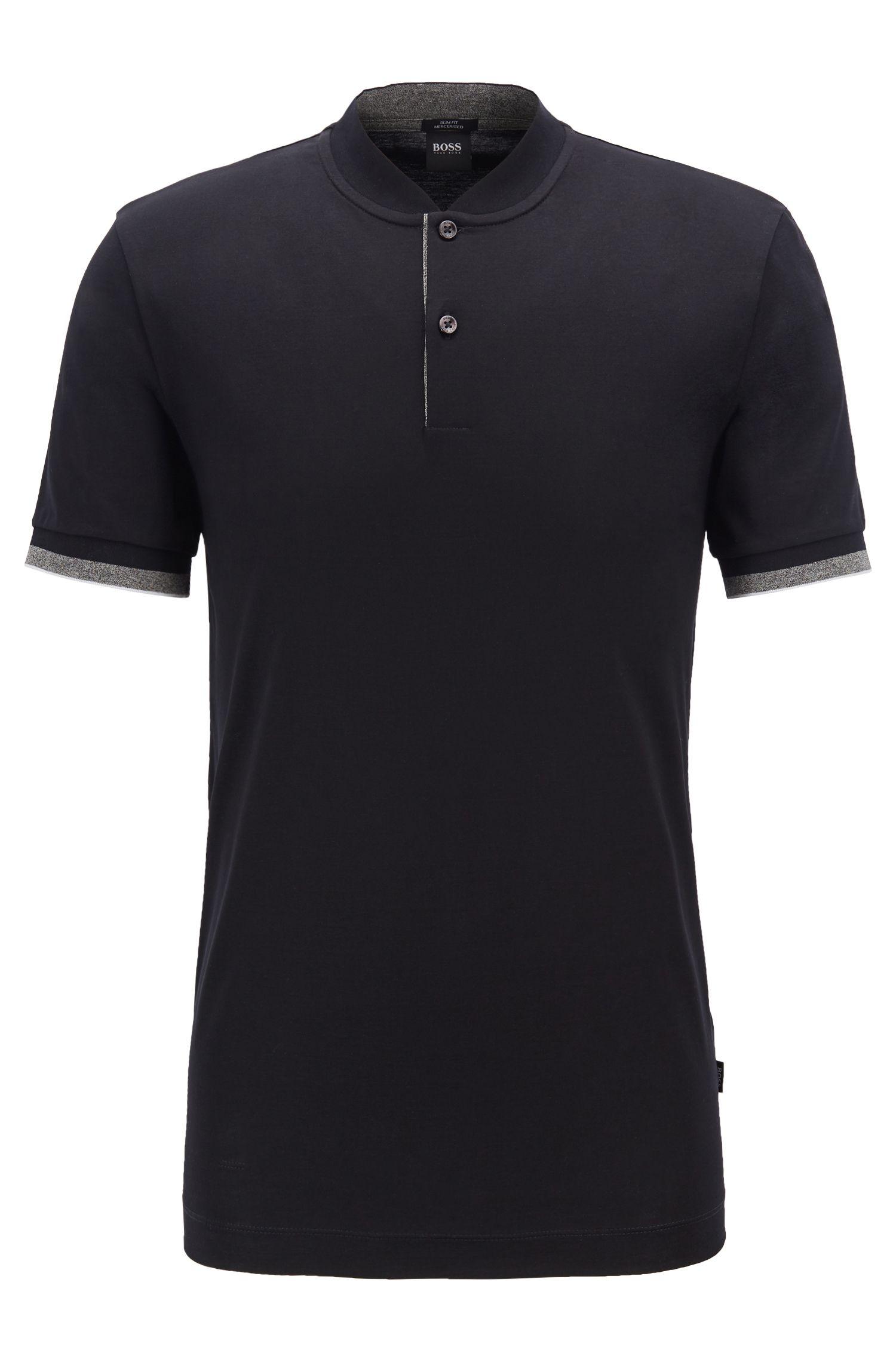 Poloshirt aus doppelt merzerisierter Baumwolle, Schwarz