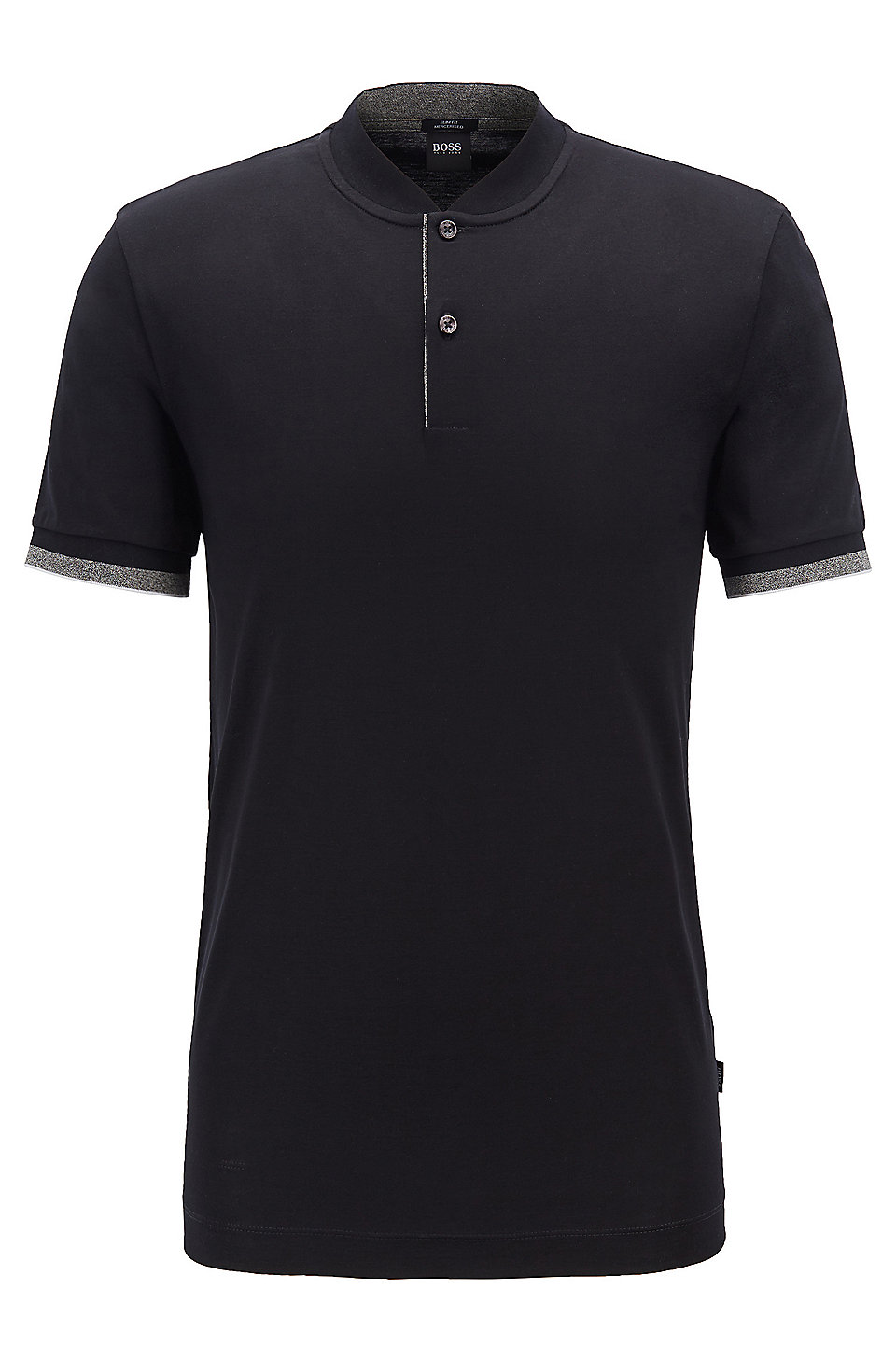bf07939f BOSS - Slim-fit polo shirt in double-mercerised cotton