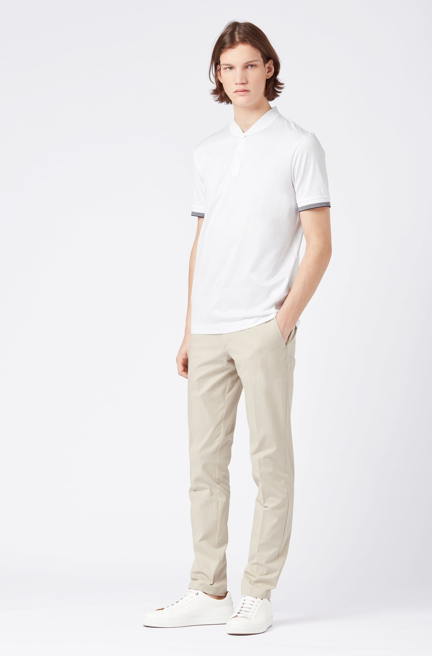 Slim-fit polo shirt in double-mercerised cotton, White