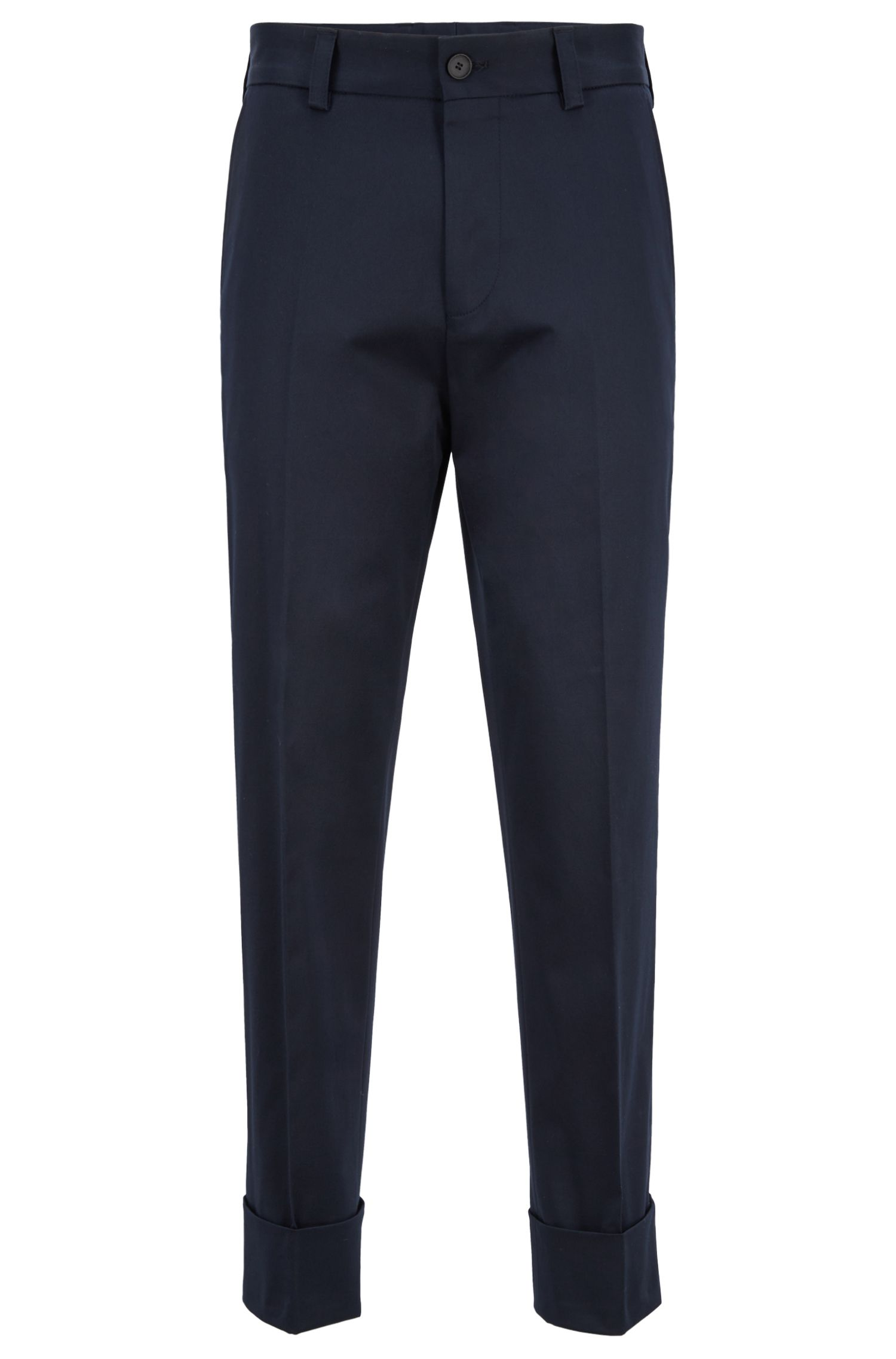 Relaxed-fit trousers in stretch-cotton gabardine, Dark Blue