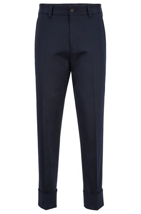 6aab7d18df BOSS - Relaxed-fit trousers in stretch-cotton gabardine