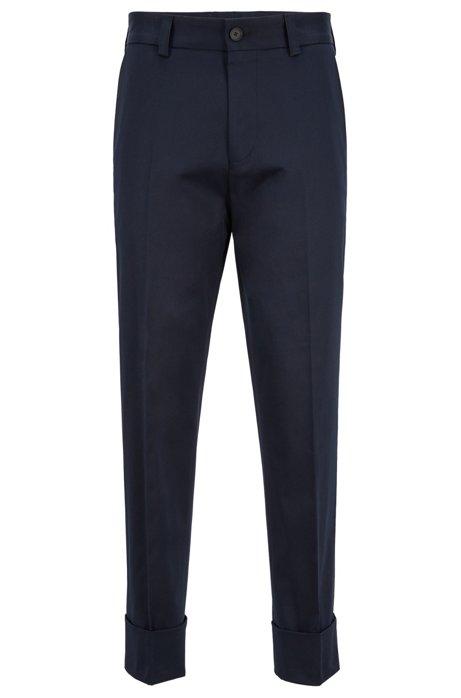 Relaxed-fit broek van stretchkatoen met beenboorden, Donkerblauw