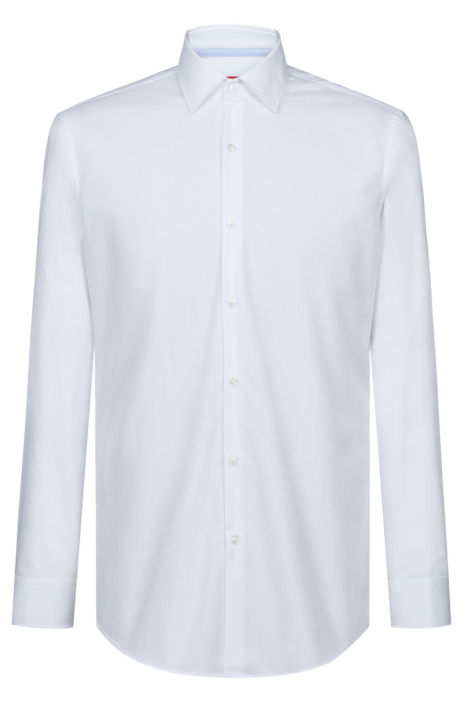 Slim-Fit Hemd aus Baumwolle mit kontrastfarbenem Logo-Band innen, Weiß