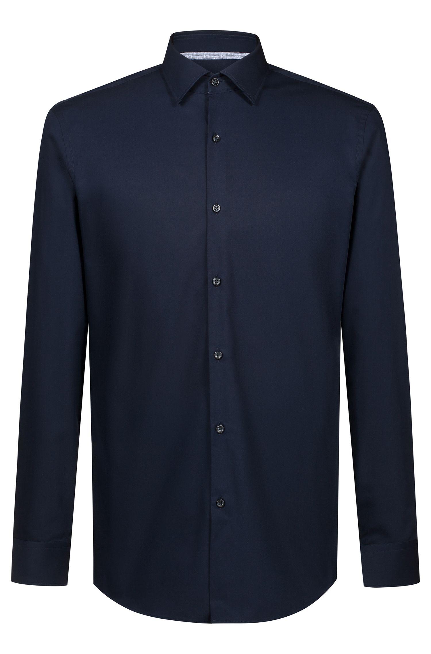 Slim-Fit Hemd aus Baumwolle mit kontrastfarbenem Logo-Band innen, Dunkelblau
