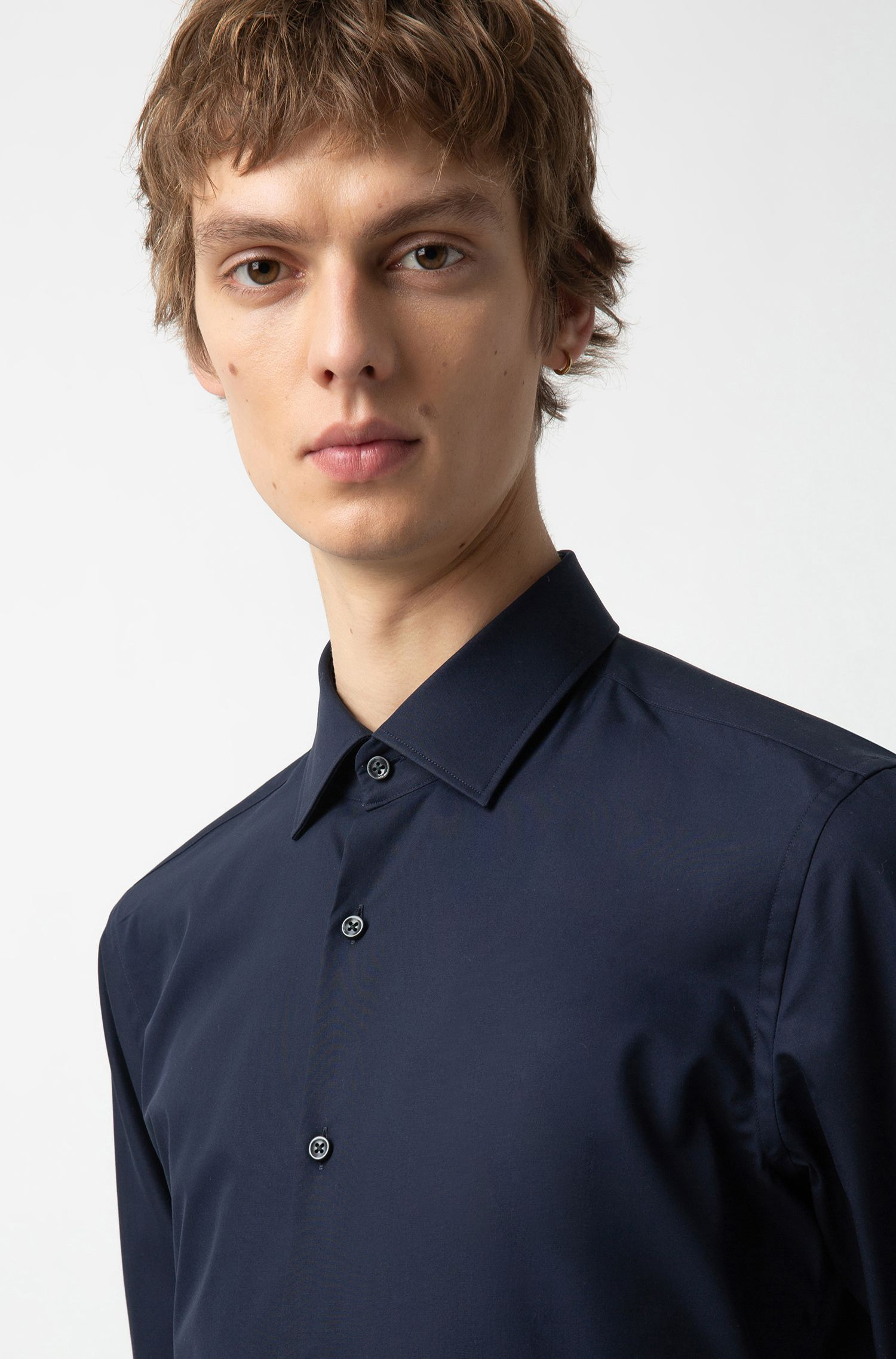 Cotton slim-fit shirt with inner contrast logo tape, Dark Blue