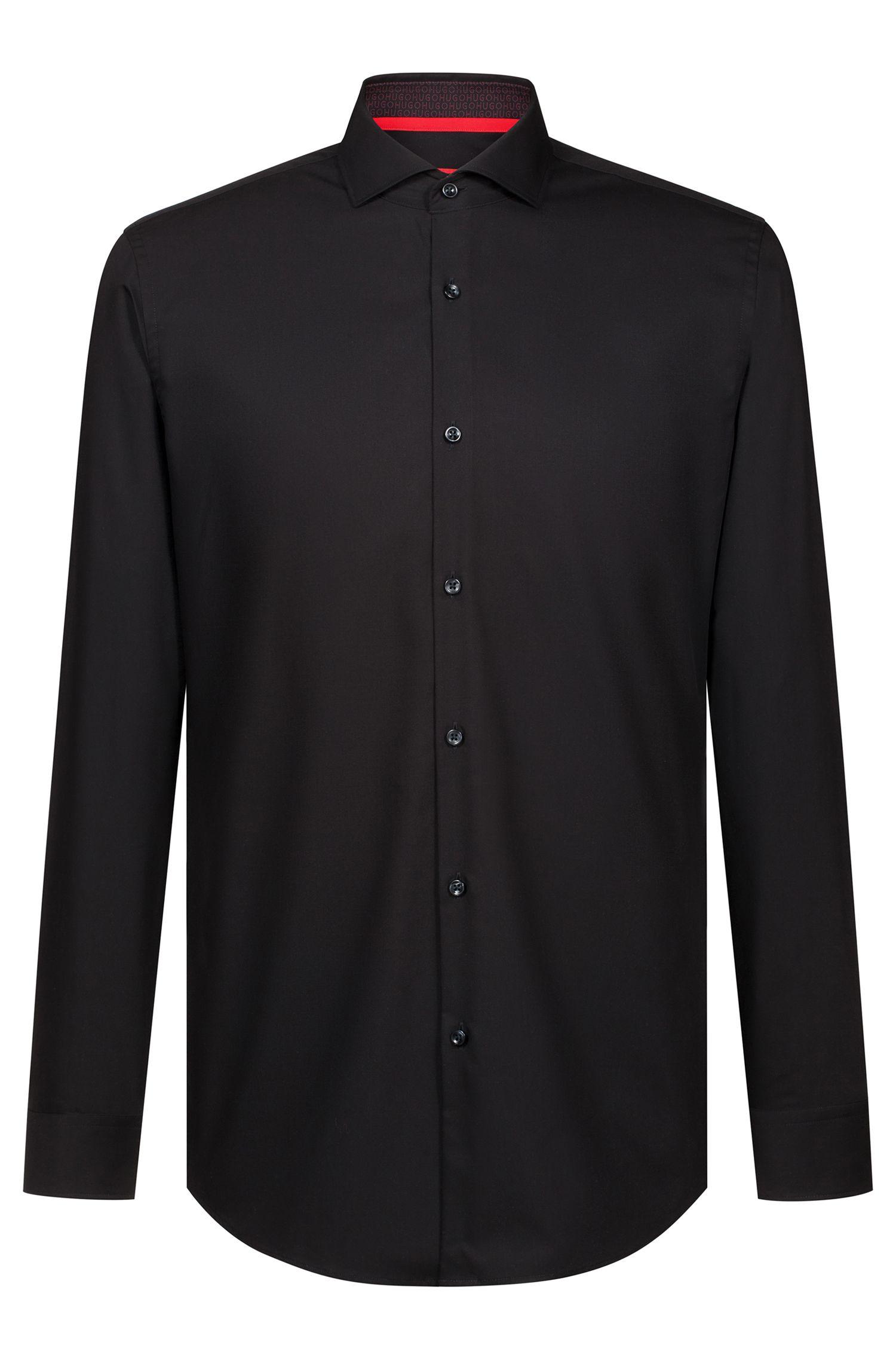 Camisa business slim fit en popelín de algodón, Negro