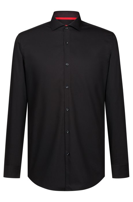 Slim-Fit Hemd aus Baumwoll-Popeline, Schwarz