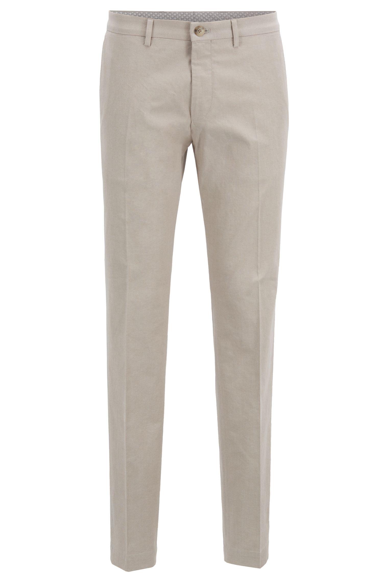 Extra Slim-Fit Hose aus melierter Stretch-Baumwolle, Hellbeige