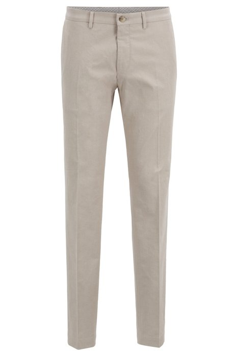 84191e0c211 BOSS - Extra-slim-fit trousers in melange stretch cotton