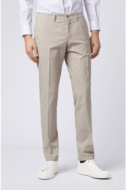Hugo Boss - Extra-slim-fit trousers in melange stretch cotton - 4