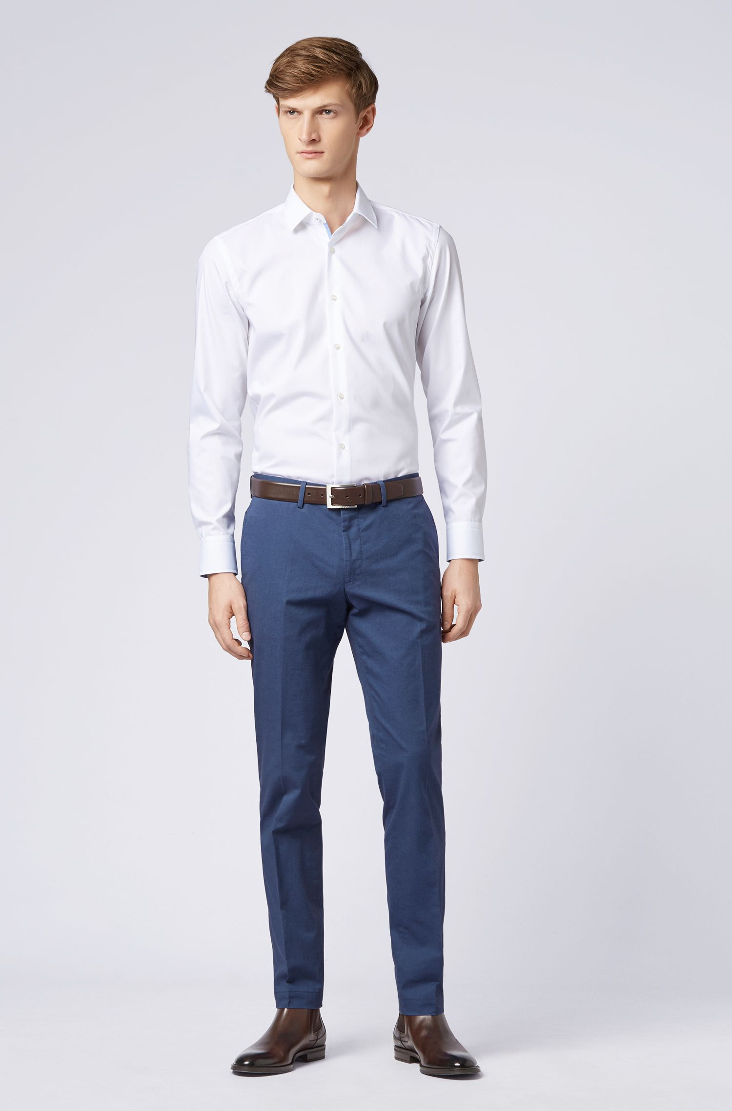 Extra-slim-fit trousers in melange stretch cotton, Dark Blue
