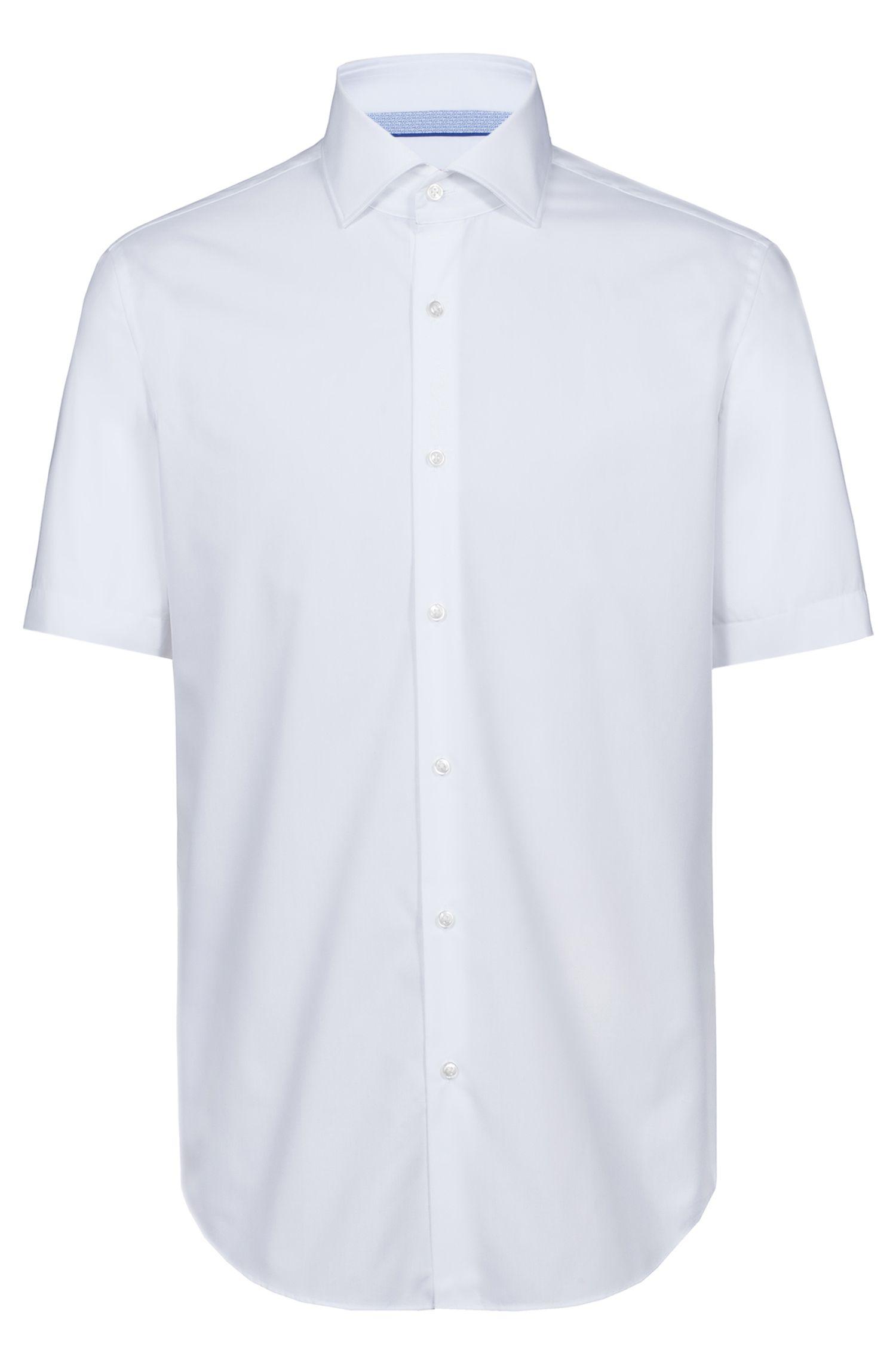 Regular-Fit Kurzarm-Hemd aus Baumwoll-Popeline mit Cutaway-Kragen, Weiß