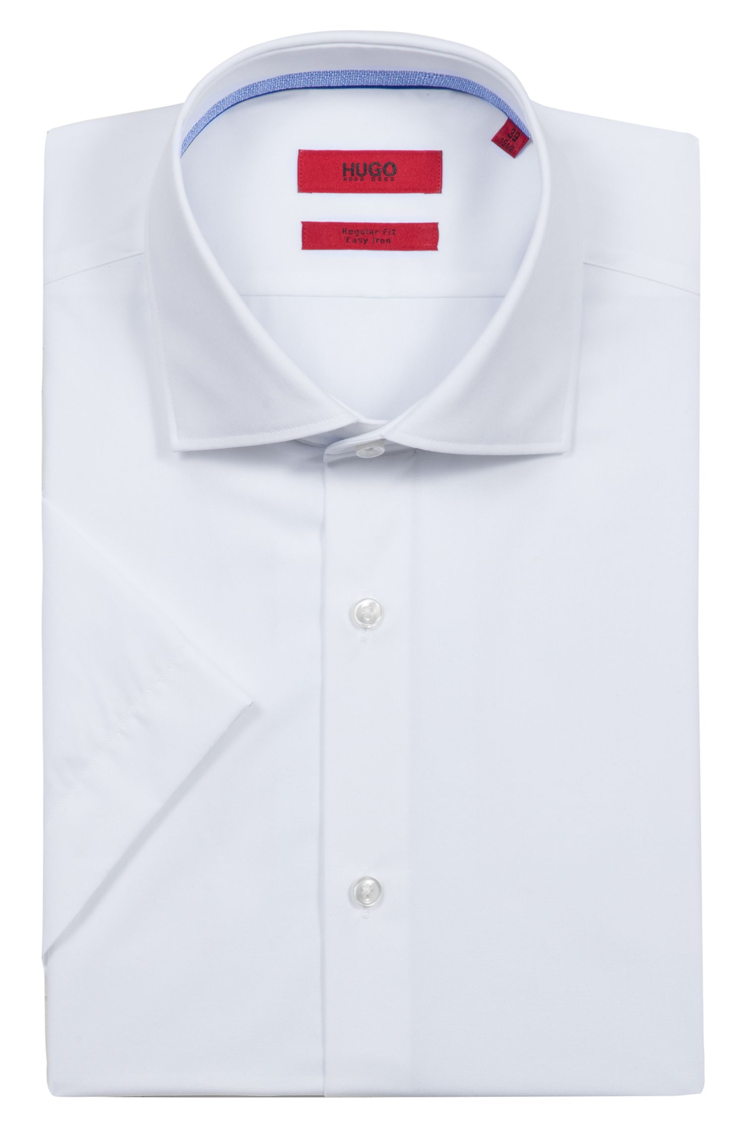 Camicia a maniche corte in popeline di cotone con colletto alla francese, Bianco