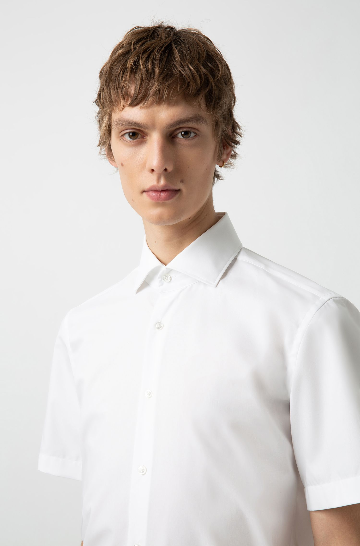 Hugo Boss - Regular-Fit Kurzarm-Hemd aus Baumwoll-Popeline mit Cutaway-Kragen - 3