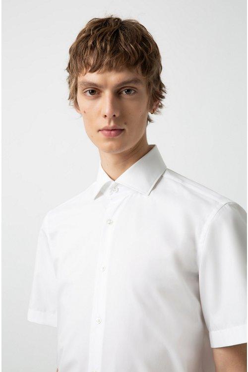 Hugo Boss - Camisa de manga corta en popelín de algodón con cuello italiano - 3