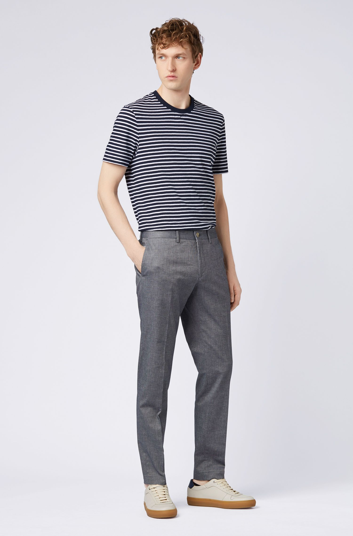 Melange extra-slim-fit trousers with piping detail, Dark Blue
